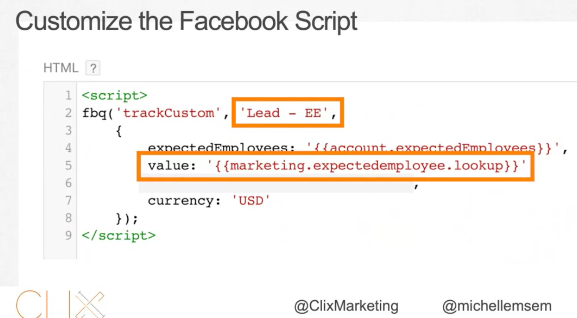 Customize the facebook script