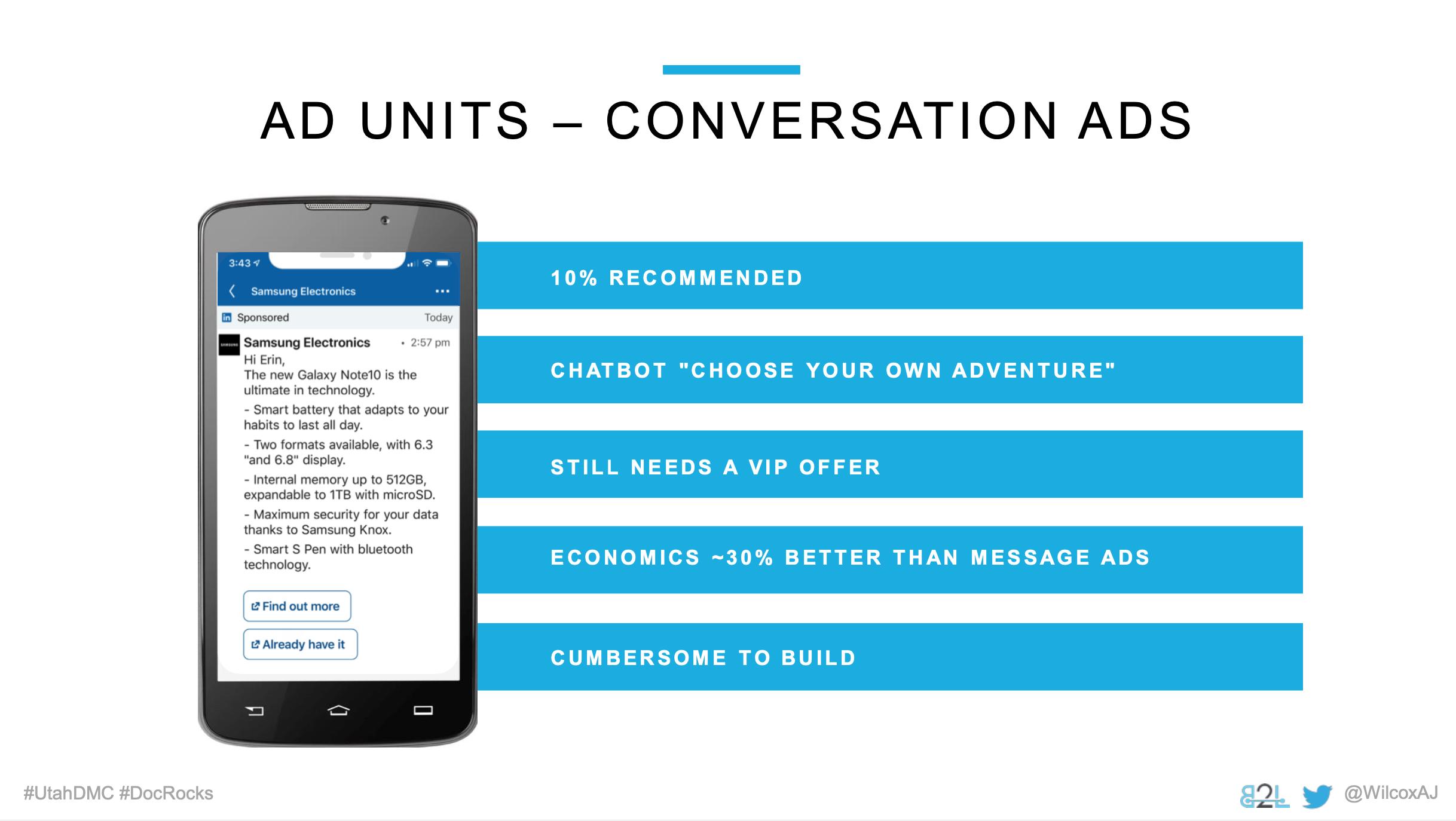 Utah DMC LinkedIn Ads - Aj Wilcox - Ad Units - Conversation Ads