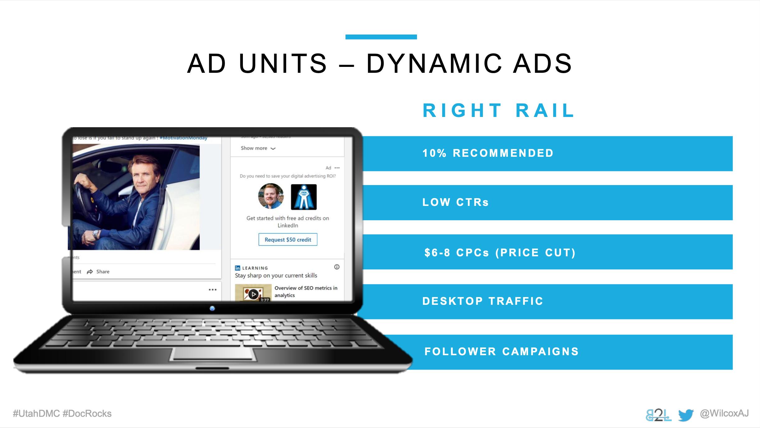 Utah DMC LinkedIn Ads - Aj Wilcox - Ad Units - Dynamic Ads