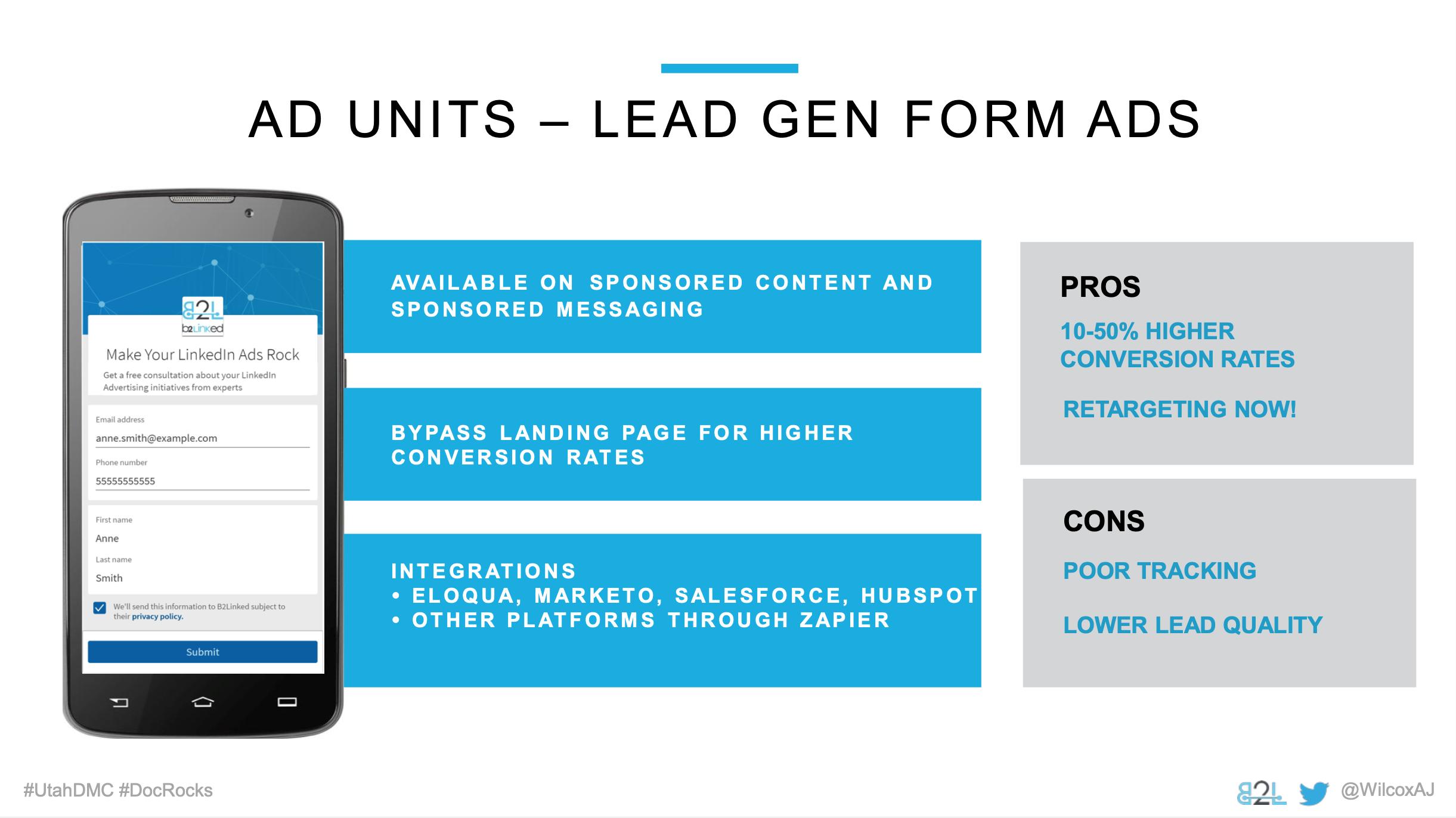 Utah DMC LinkedIn Ads - Aj Wilcox - Ad Units - Lead Gen Form Ads