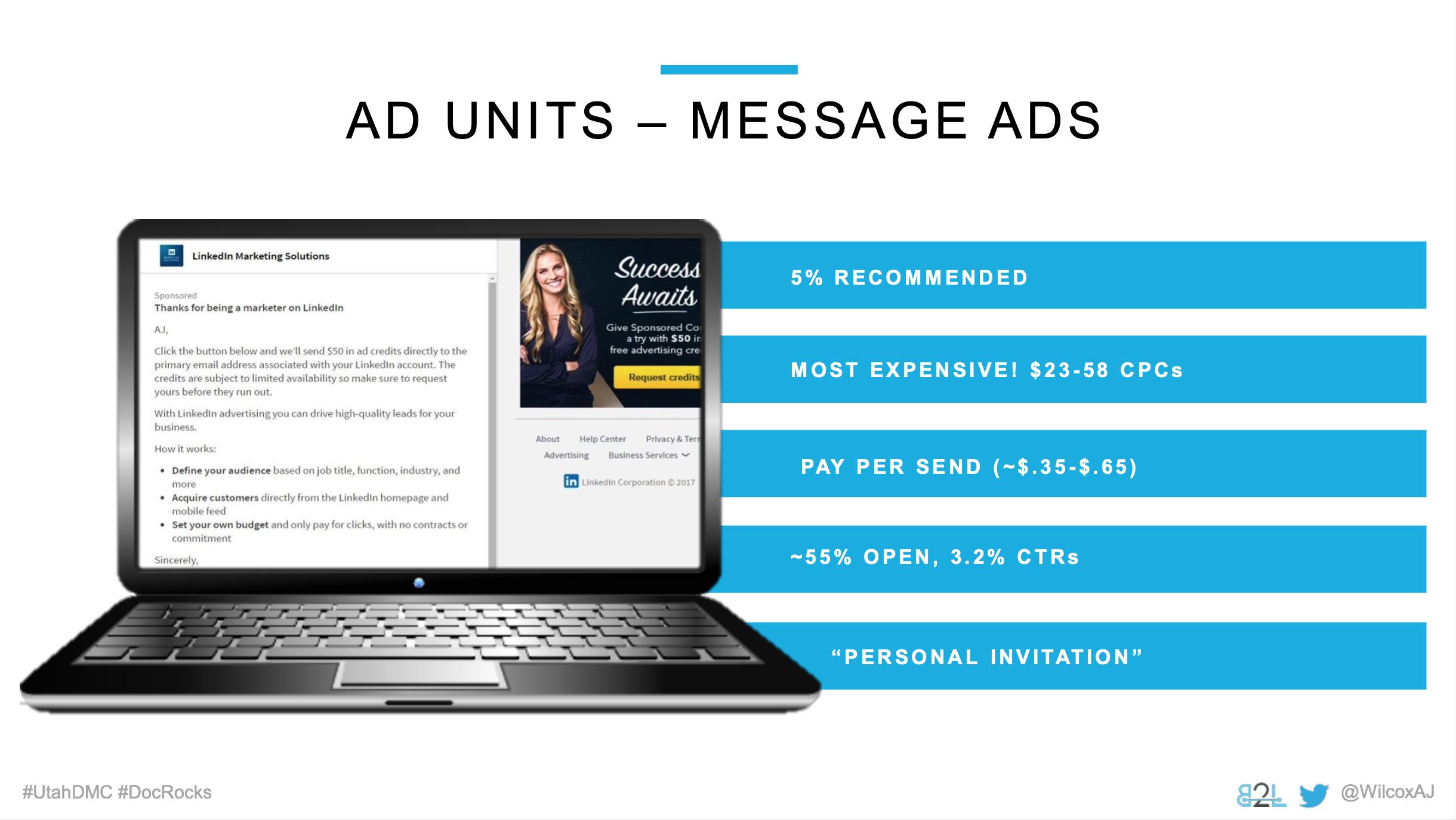 Utah DMC LinkedIn Ads - Aj Wilcox - Ad Units - Message Ads