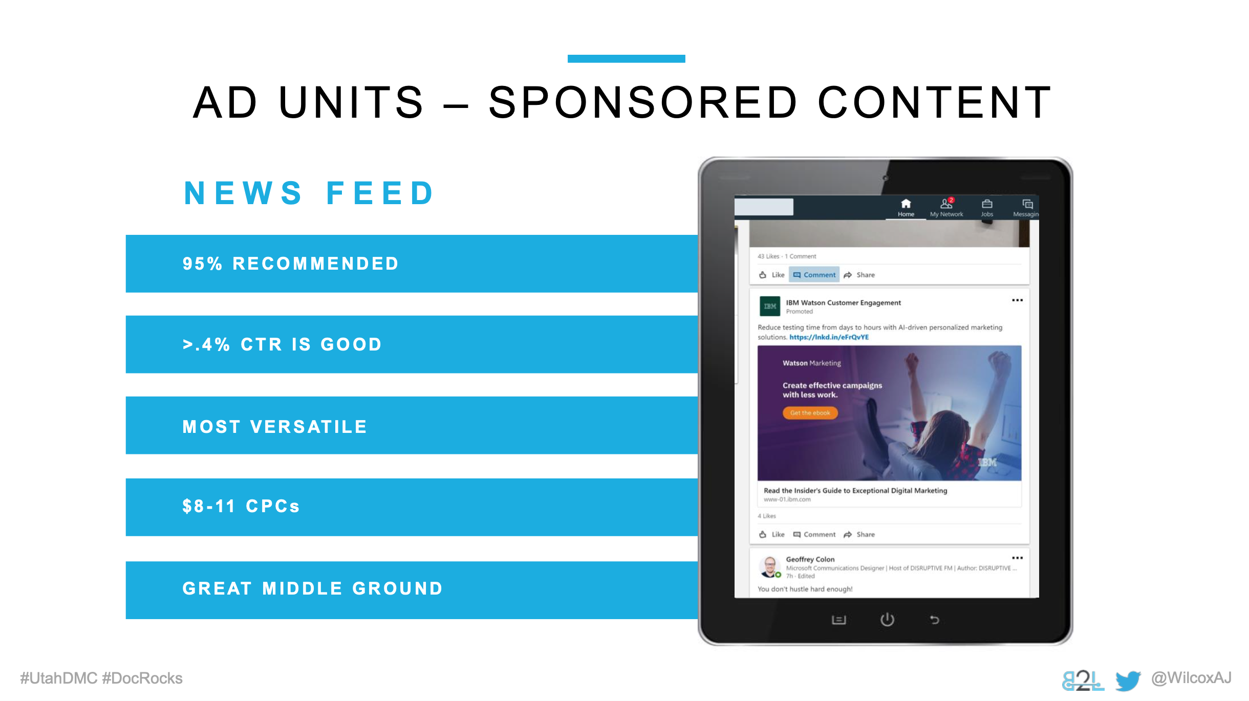 Utah DMC LinkedIn Ads - Aj Wilcox - Ad Units - Sponsored Content