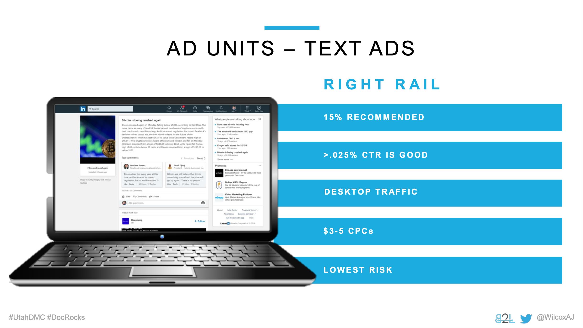 Utah DMC LinkedIn Ads - Aj Wilcox - Ad Units - Text Ads
